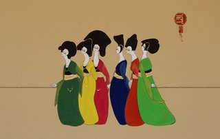 Kurdish women dancing,Hayv Kahraman