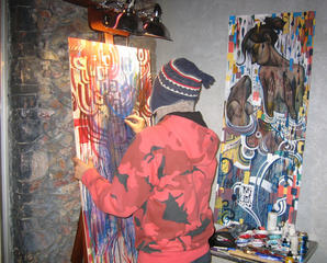 Live painting at opening, John Park