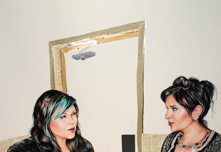 Cindi and Asma in the Ladies Room, Shizu Saldamando