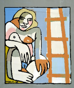 _2__women_with__orange_ladder___60__x_72___oil___acrylic_on_canvas_2008