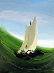 Sailboat with Green Wave , Kelly McRaven