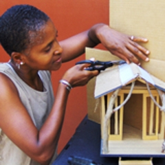 Dominique Moody works on the model for her commissioned work, The Nomad, Dominique Moody
