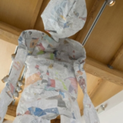 Detail of Paper Person, created from one day of paper-trash at Harvard-Westlake High School, Los Angeles , Kim Abeles