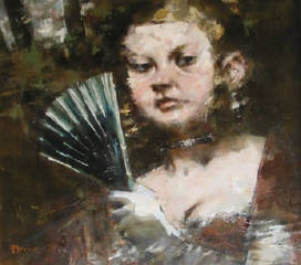 Opening Night, Woman With a Fan , Jack Levine