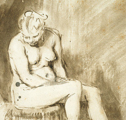 Seated Female Nude (detail),Rembrandt