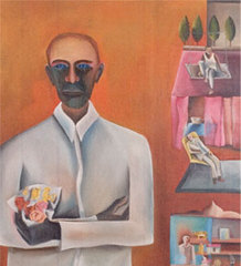 Man with Bouquet of Plastic Flowers, Bhupen Khakhar