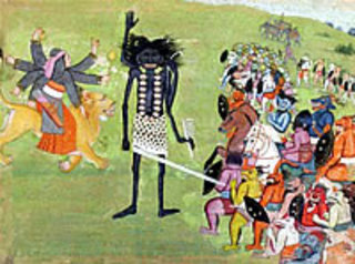 Durga and Kali Fighting the Demon,