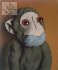 Green monkey on orange,