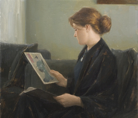 Jennifer Looking at Japanese Prints, Aaron Westerberg