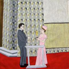 John Wayne Accepting his Academy Award from Barbra Streisand , Alison Byrnes