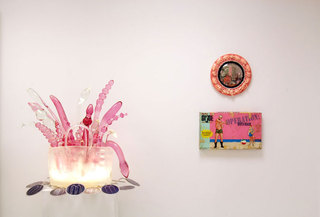 Think Pink, Installation view Gavlak, Palm Beach, Randy Polumbo, Tim Liddy, left to right, Louise Erhard
