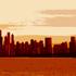Chicago_skyline_sunset__digitally_enhanced_photograph__2002