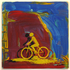 Bicycles__tunnel___screen_print_and_acrylic_on_record_album__12x12__2009___100