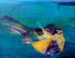 Artist_shiloratner_title_yellowbird_acrylicpaintoncanvas_8inchesx10inches
