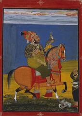 Kunwar Anop Singh of Devgarh riding with a falcon, Devgarh, Mewar