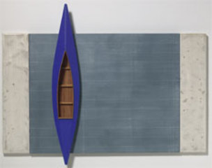 Blackboard, Blue Boat, Two White Strips,David Ruddell