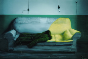 Zhang_xiaogang__2008__green_wal_-_military_uniform__oil_on_canvas__200_x_300_cm