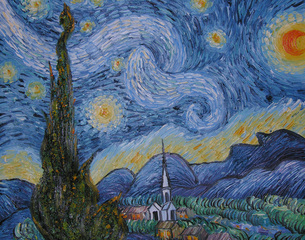Original: The Starry Night, Saint-Remy, unknown artist, after Vincent van Gogh