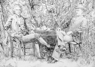Post-Transplant Convergence: Messrs. Jefferson and Roosevelt take Afternoon Tea., FRANK CHANG