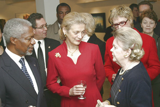 Kofi Annan and wife at the official opening of the gallery ,
