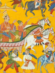 King Dasaratha and his retinue proceed to Rama\'s wedding (detail),