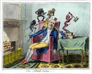 The Headache, after The Headache by George Cruikshank, c. 1830 , Enrique Chagoya