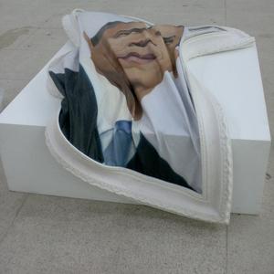 Shen_shaomin_obama_oil_on_canvas_silica_gel_frame_180x150x8cm_2009