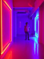 artist with his installation, Mitsunori Kurashige