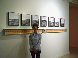 artist with her work, Toyoko Katsumata