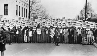 Sanitation Workers Assemble in Front of Clayborn Temple for a Solidarity March, Memphis, Tennessee, Ernest C. Withers