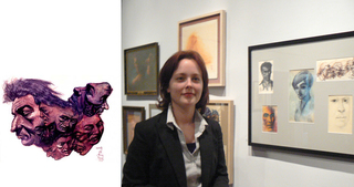 Curator Veronica Aberham standing with the works of the late artist Otto Franz Krone. ,