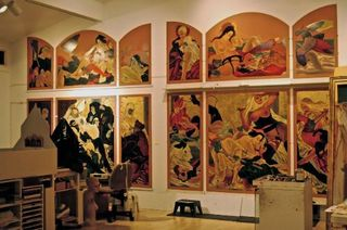 Triptych works in progress ,Masami Teraoka