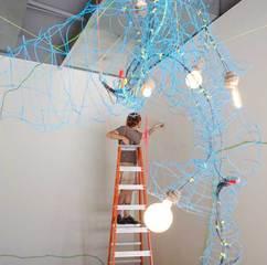 installs Blue Chandelier-1, Eli Levenstein