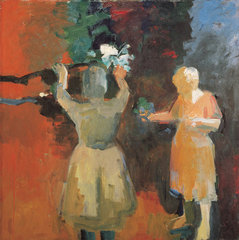 Two Women in Vermillion Light,Elmer Bischoff