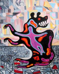 Painting_bear_hug_oil_on_canvas_24x30in_artslant-sales
