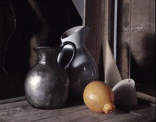 Black Pitcher, Lemon, Wooden Pieces, Howard Nathenson