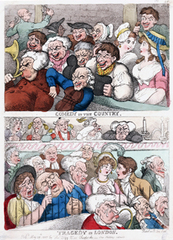 Comedy in the Country, Tragedy in London, Thomas Rowlandson