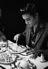 Elvis Presley eating breakfast at the Jefferson Hotel, Richmond Virginia , Alfred Wertheimer