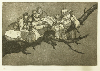 Andarse Po Las Ramas (To go amongst the branches), Disparate Ridiculo; plate 3 from Los Proverbios, Francisco Goya