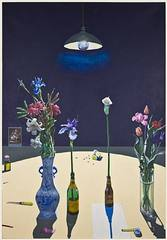 Dutch Still Life with Flowers and a Box of Tacks under a Light, Paul Wonner