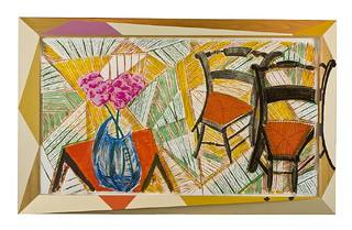 Walking Past Two Chairs,David Hockney
