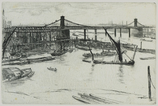 Old Hungerford Bridge (Number 6 from A Series of Sixteen Etchings of Scenes on the Thames and Other Subjects),