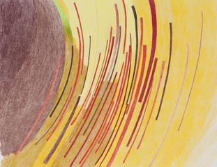 Trails and space,yellow and red version, Carrie Gundersdorf