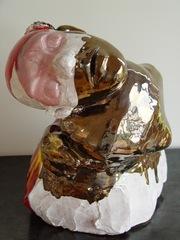 Ceramic figure with bent body-pink face , Micaela Amateau Amato