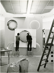 making Garden of the Metamorphosis in the Space Capsule, 1968 for the exhibition Three Blind Mice/de Collecties: Visser, Peeters, Becht, Stedelijk Van Abbemuseum, Eindhoven, Netherlands,Tetsumi Kudo