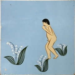 Man walking in a field of lilies,Clare Rojas