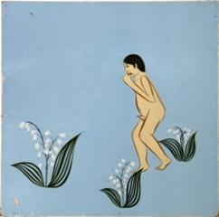 Man walking in a field of lilies, Clare Rojas