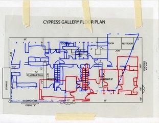 Floor plan of Summercamp Project Project located in El Sereno, CA mapped onto Cypress Gallery floor plan, Bari Zipperstein