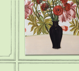 Red Rununculi in Black Vase, Jen Mazza