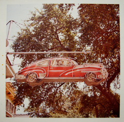Red Car and Driver Neon Sign,William Eggleston